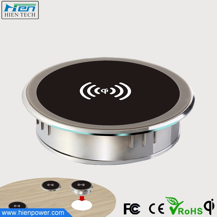 Embedded in coffee shop bar and office table desktop QI wireless charger furniture using
