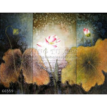 hand painted lotus flower oil painting on canvas,Prosperous Lotus-Chinese Lotus
