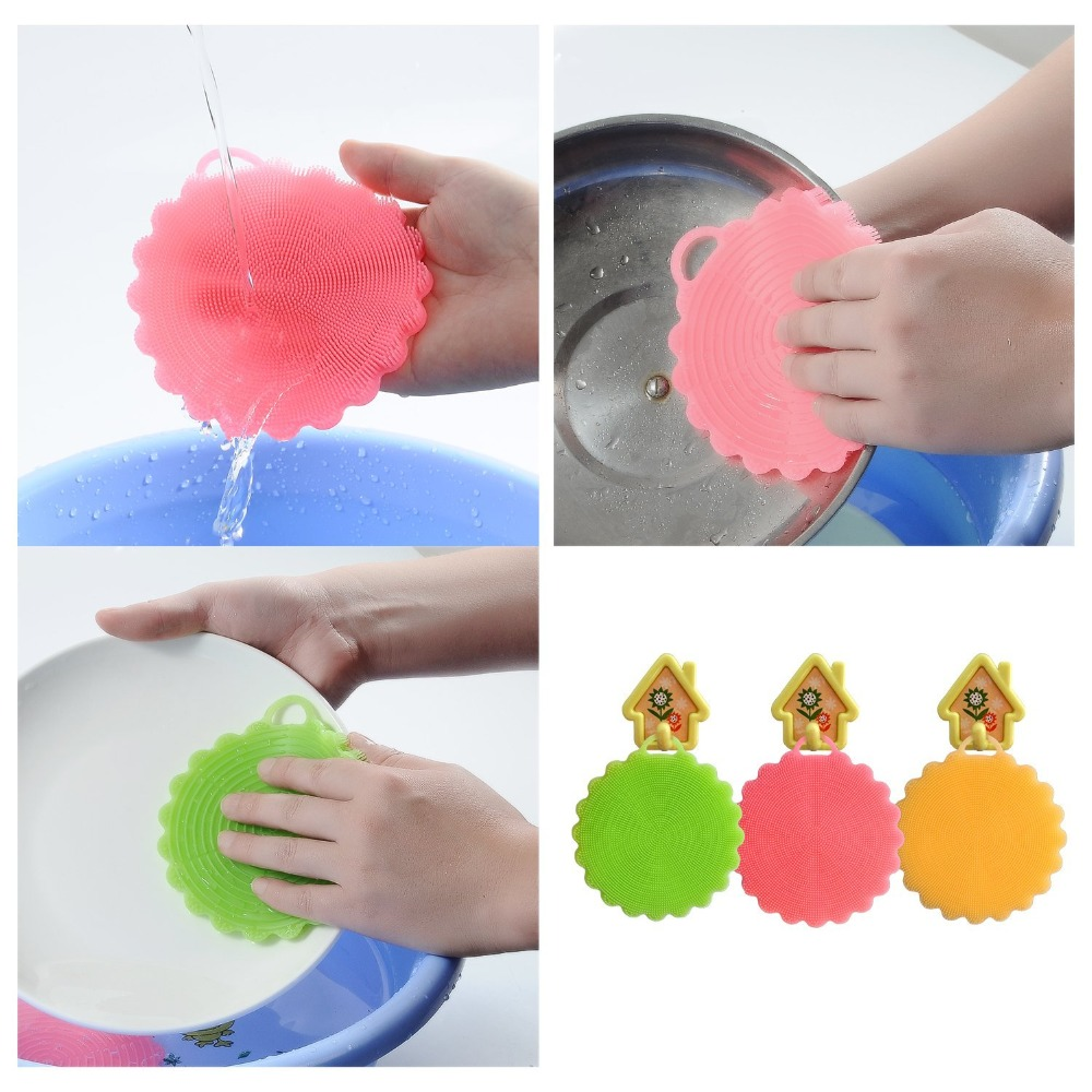 Durable Heat-resistant Silicone Dish Washing Sponge Food Grade Silicone Scrubber Kitchen Scrub <strong>Brush</strong>