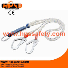 Safety harness connected fall arrest shock absorber lanyard for body protection