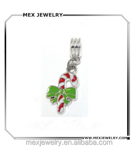 Christmas Candy Cane Green Bow Charm