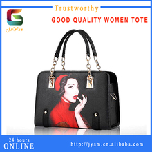 USA Personality Design Sex Hot Women Red Dress Pinted Handbag High Quality Pu Decoration Tote Shoulder Bag Custom
