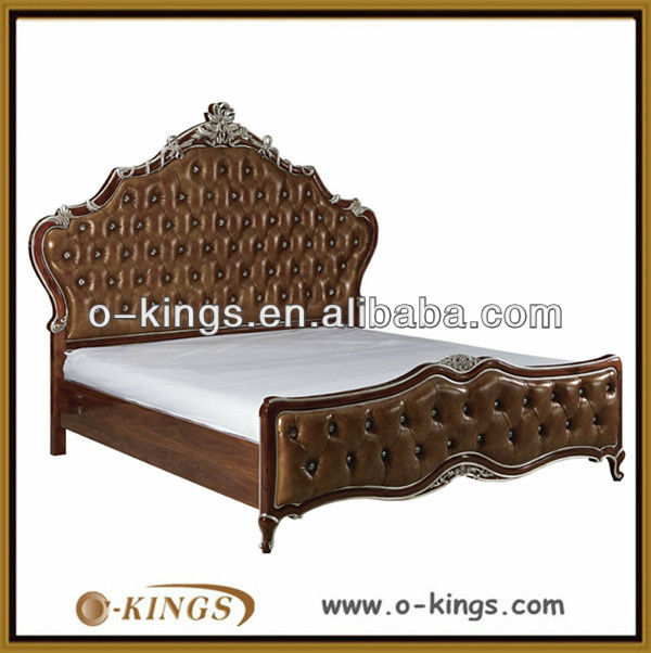 luxury king size bed/ solid wood leather king size bed/hotel bed