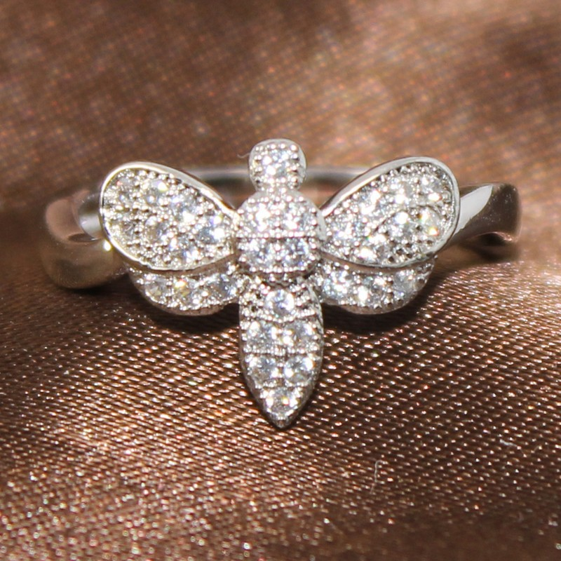 BJ099 Hot Selling New Style Free <strong>DHL</strong> Shipping to UK Fashion Brass Cubic Zircon Rhodium Plating Dragonfly Ring