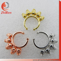 ZhiRen Zinc Alloy Skulls Fake septum ring, skull fake nose ring, fake septum piercing