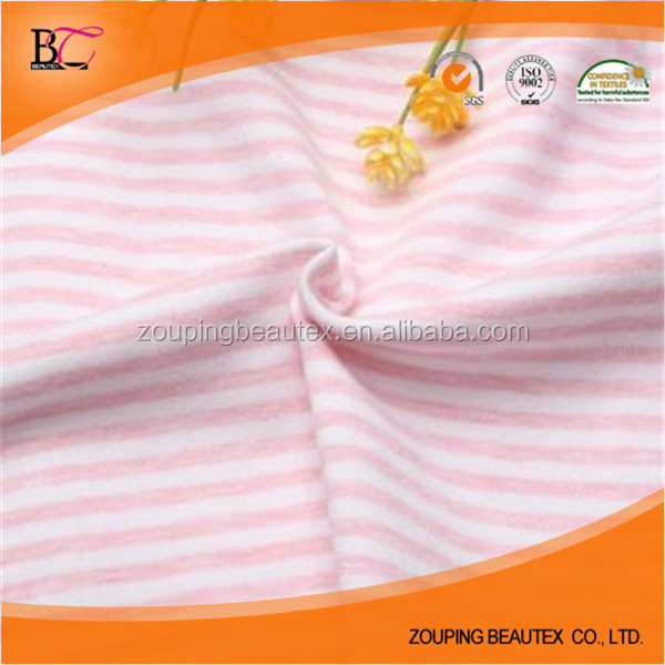 100% cotton striped single jersey knitted fabric for making T-shirt