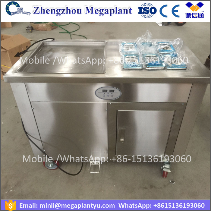 Single flat pot Fried ice cream models machine price