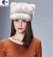 TD1002 Lady Accessories Winter Warm Pelt Real Mink Fur Cat Ears Design Peaked Cap and Hat