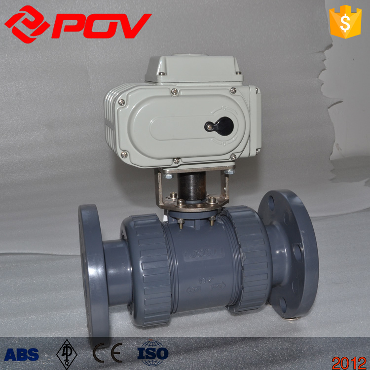 flanged pvc motorized ball valve drawing