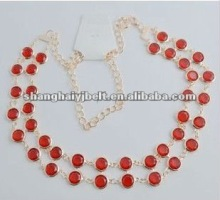 lady metal red rhinestone double color dress chain belt