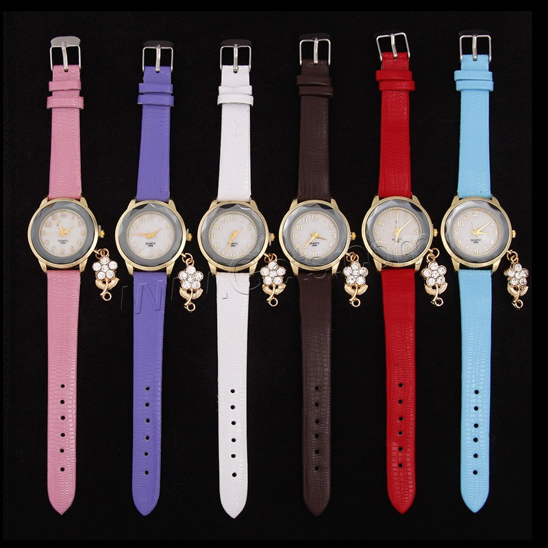 Glass Zinc Alloy Women PU Wrist Watch