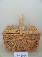 wicker market or easter or picnic basket with long handle