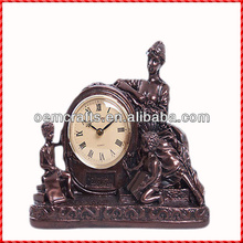 Vintage bronze mother and son custom resin antique outdoor clock