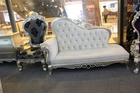 hot sale white leather luxury chaise lounge