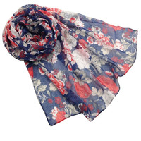 Hot-Selling high quality low price long big size scarf viscose material with big flower print, instant shawl hijab