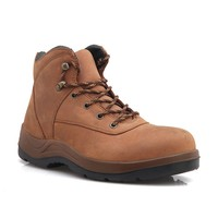 men genuine leather safety shoes /steel toe waterprof safety boots/light color cheap work boots