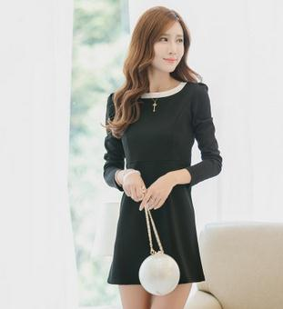 New style korean women explosion splice trend long sleeve elegance and gracefulc nifty skirt