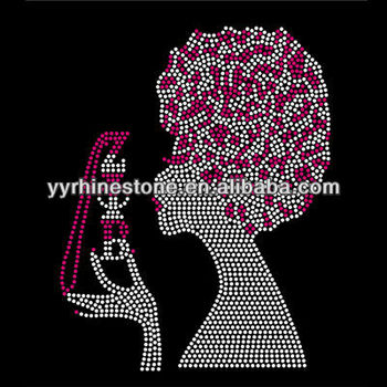 Afro girl rhinestone heat transfer iron ons
