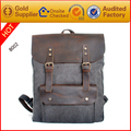 Factory price high fashion leather+canvas backpack
