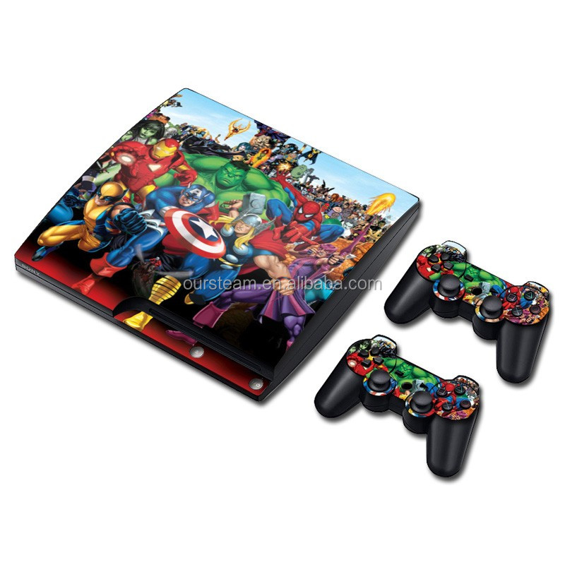 Game console and controllers decal vinyl skin sticker Contemporary stylish sticker for ps3 slim