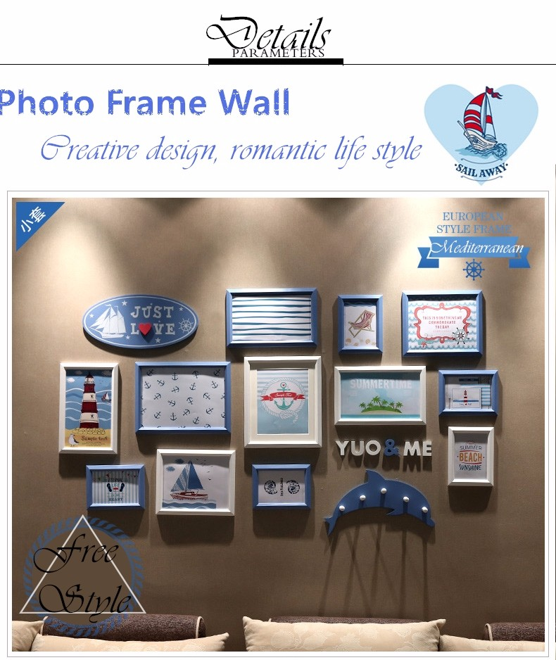 QS-35435E Handmade Wall Hanging Wood Photo Collage Mediterranean Photo Frame Set