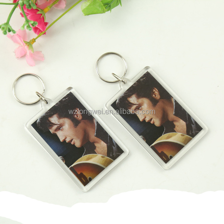 cheap blank custom acrylic digital photo keychain/plastic key ring