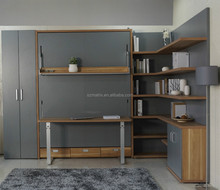 Double Modern Wall Bed , Modern folding wall bed with bookshelf and table