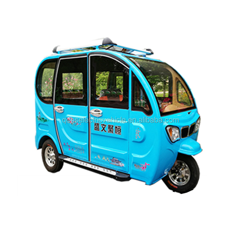 2017 new 1000w cheap 3 wheeler closed tricycle electric car for passenger with canopy trishaw pedicab