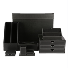 Office product black leather desk organizer storage boxes leather desk set