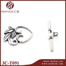 wholesale jewelry supplies heart shape silver toggle clasp