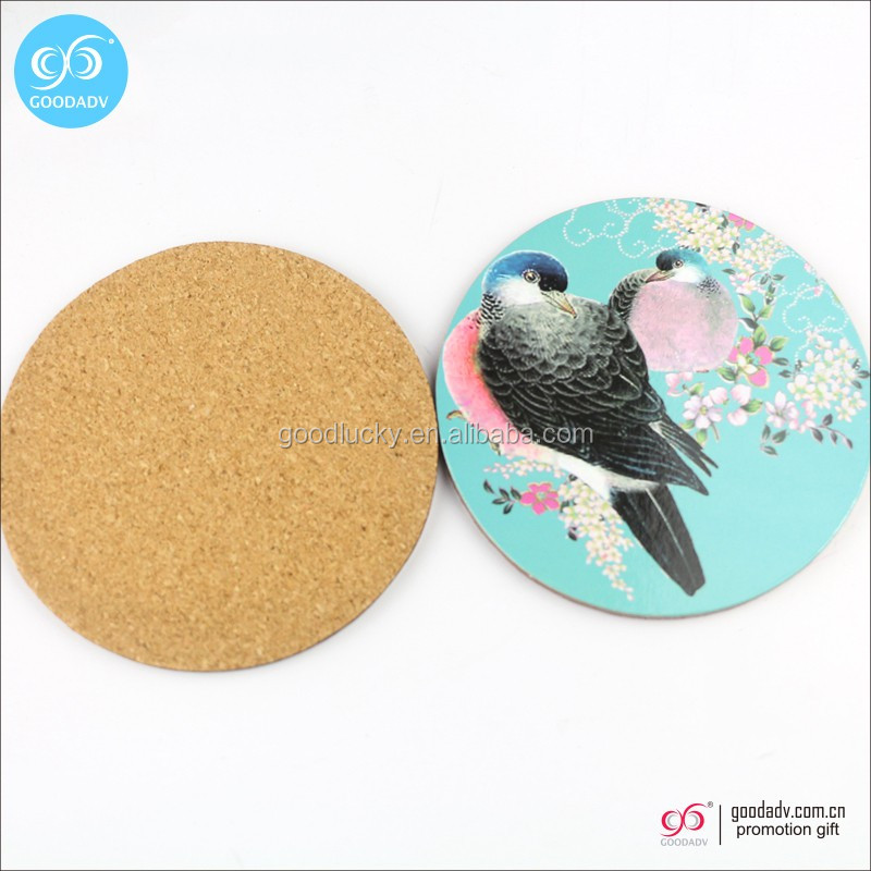 Factory Wholesale drinks MDF cork coaster cheap wooden coaster
