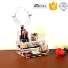 Clear Plexiglass 3 Pieces Makeup Organizer 2 Drawers Cosmetic Organizers with Removable Mirror