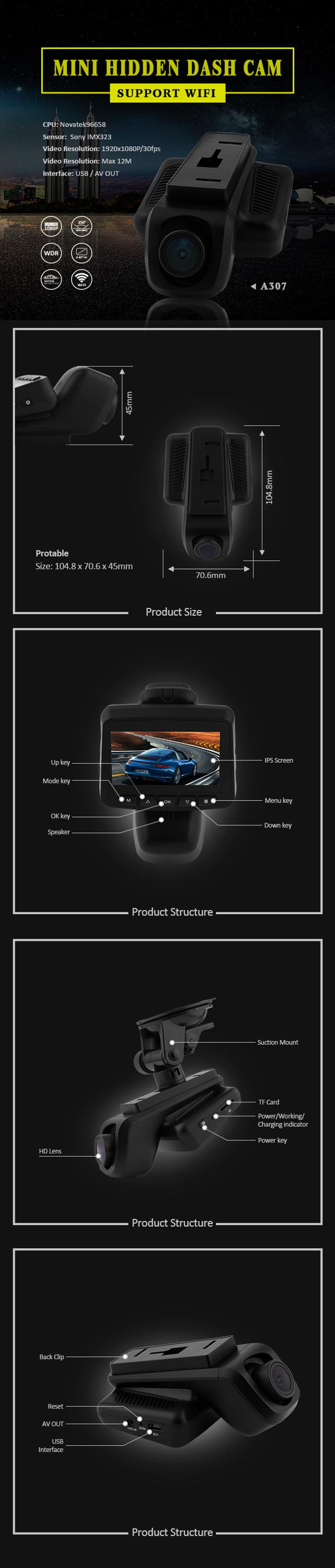 1080p user manual 2.45inch IPS mini hidden wifi GPS dash cam