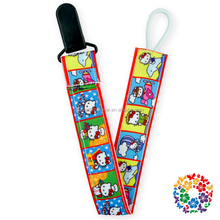 Cartoon Printed Ribbon Baby Products Baby Pacifier Holder, Double Sided Plastic Clips