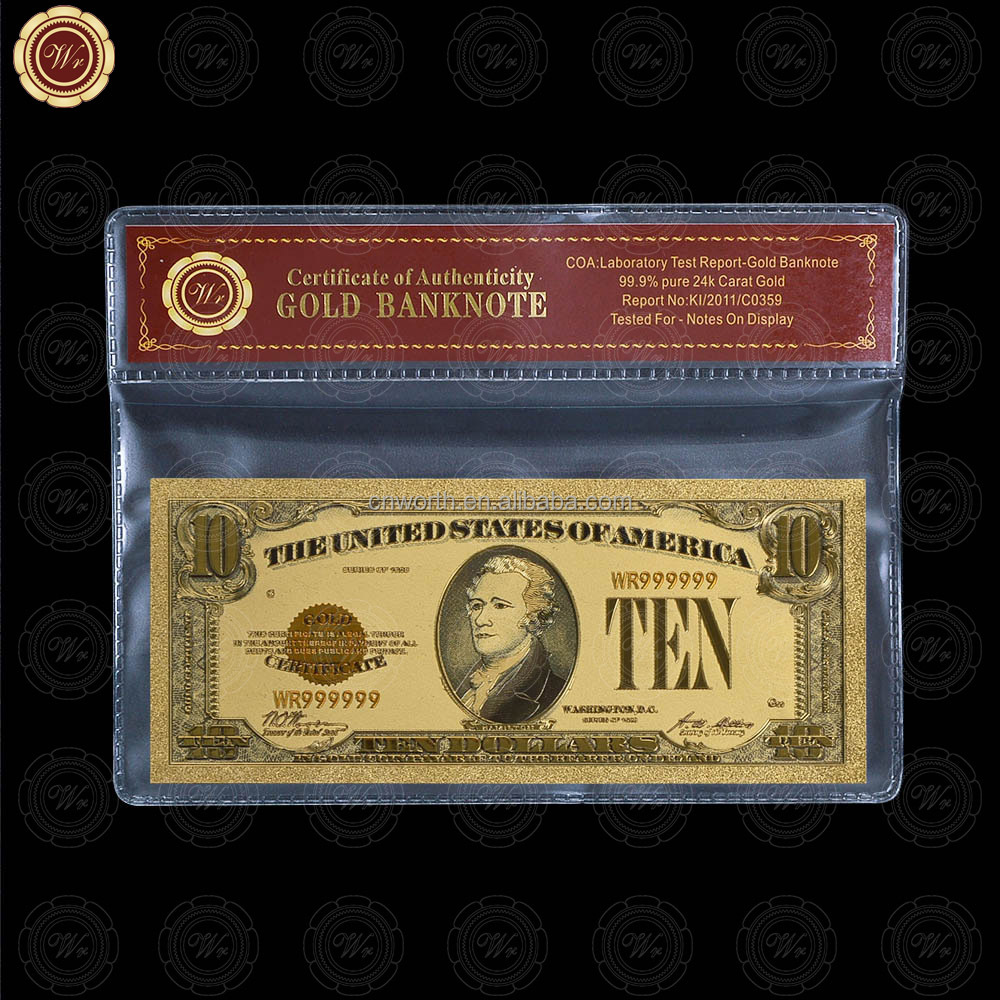 Wr Customized Gold Plated 1928 <strong>U</strong>.S. A. $<strong>10</strong> Dollar Money Novelty Banknote Craft with Sleeve