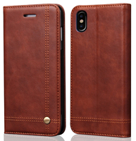 Emboss Logo Newest Phone Accessories for iPhone X Strong Magnetic Leather Case with Card Slot