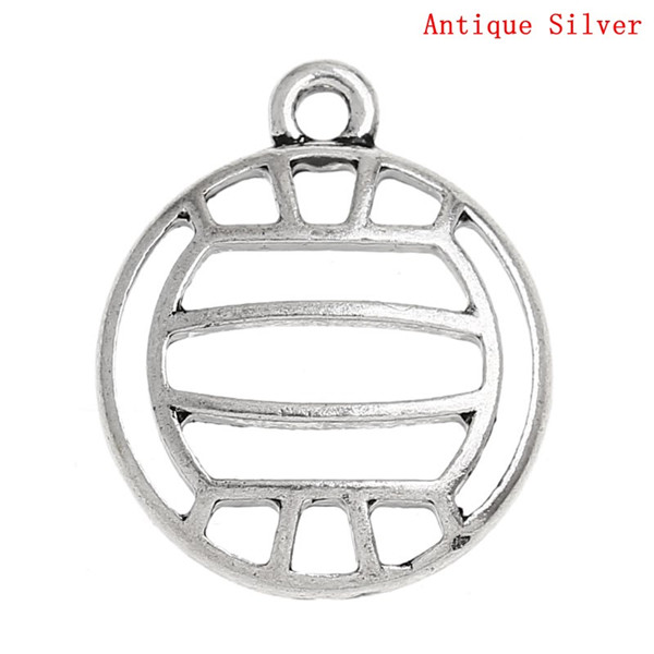 Charm Pendants Volleyball Sports Antique Silver Hollow 21mm x 18mm
