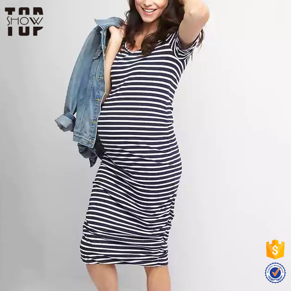 Wholesale ruched blank t-shirt stripe dress short sleeves womens maternity dresses