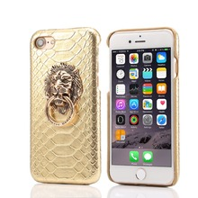 New arrival hot sale PU Leather Lion Head Pattern Stand Hard Case For iphone 6 plus