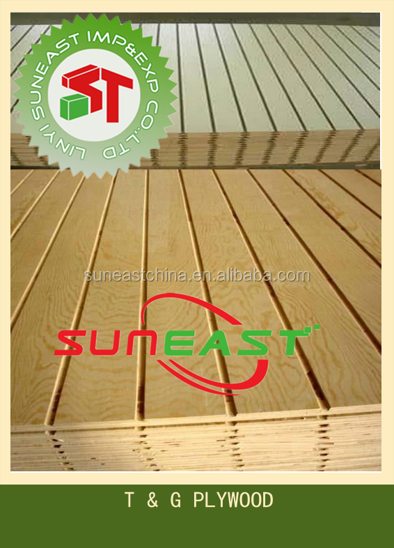 Pine T & G plywood, Tongue and Groove plywood, slotted plywood
