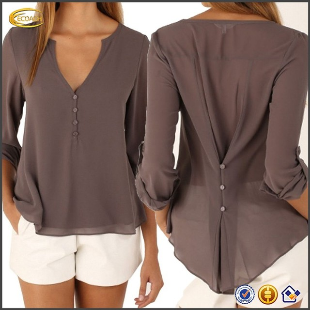 6164cecb8c0 Ecoach Wholesale OEM Latest Design Women's Deep V-Neck Button Detail Dip  Back Solid Tops