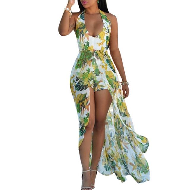 Tropical Chiffon long dress irregular holiday dress+shorts flower Bohemia dress