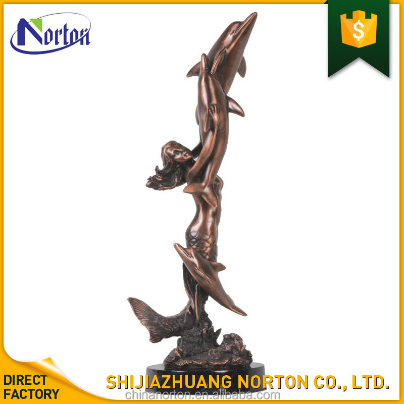 Whole antique best selling bronze mermaid and dolphin sculpture for garden decoration NT-BS251K