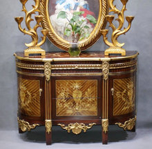 Luxury French Gold and Maroon Chinoiserie Living Room Furniture Side Cabinet