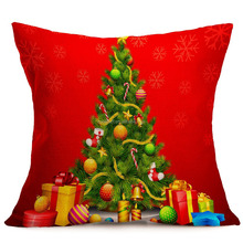 Home Textile High-End Crewel Embroidered Christmas Throw Pillows flax christmas decorative pillow wholesale custom printed decor