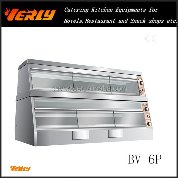 Electric Heated Display Showcase/Hot Food Warmer/KFC Hot Cabinet/Heat food Display BV-6P