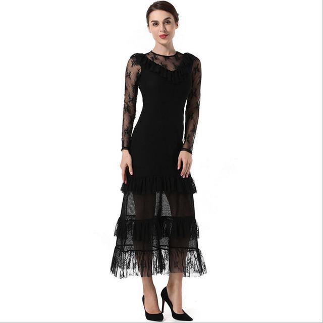 black long sleeved prom dress_Yuanwenjun.com