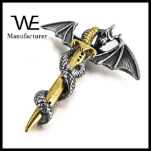 Titanium Steel Gothic Dragon Sword Bat Wing Vintage Biker Necklace Pendant