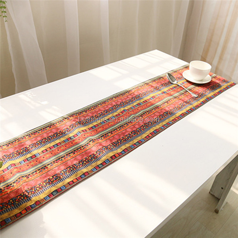 Bohemia style table runner cover for home decoration linen c