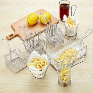 High quality wholesale supply home kitchen mini metal stainless Steel wire mesh French Fries fry Holder Basket